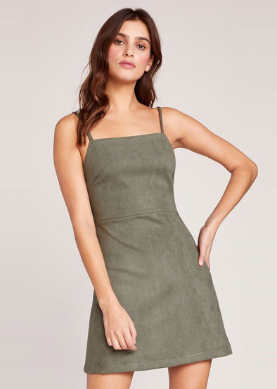 Fair & Square Scuba Suede Dress - Green