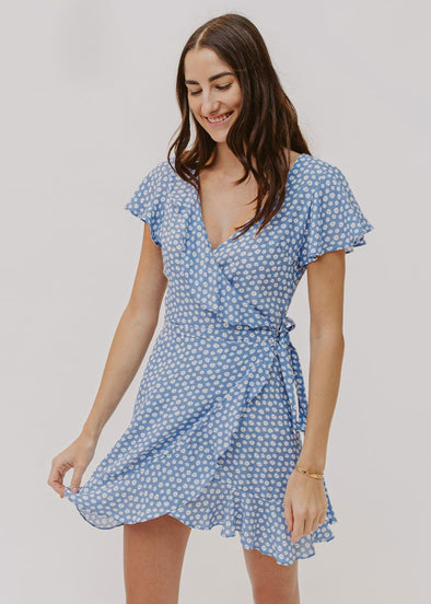 Daisy Blue Dream Mini Wrap Dress