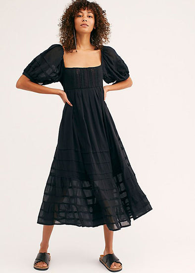 Let's Be Friends Midi Dress - Black
