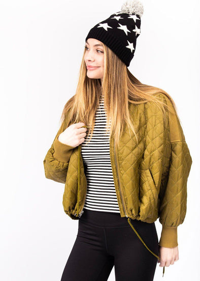 Girl Friday Quilted Bomber - Forest Green