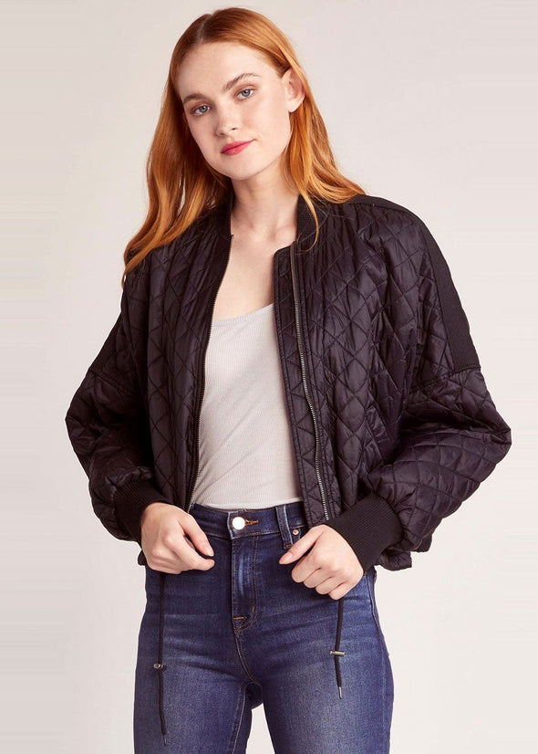 Girl Friday Quilted Bomber Jacket - Black