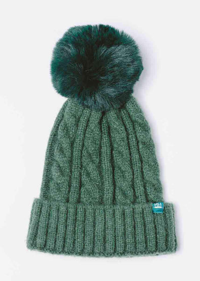 Mad Hatter Cable Knit Beanie - Emerald