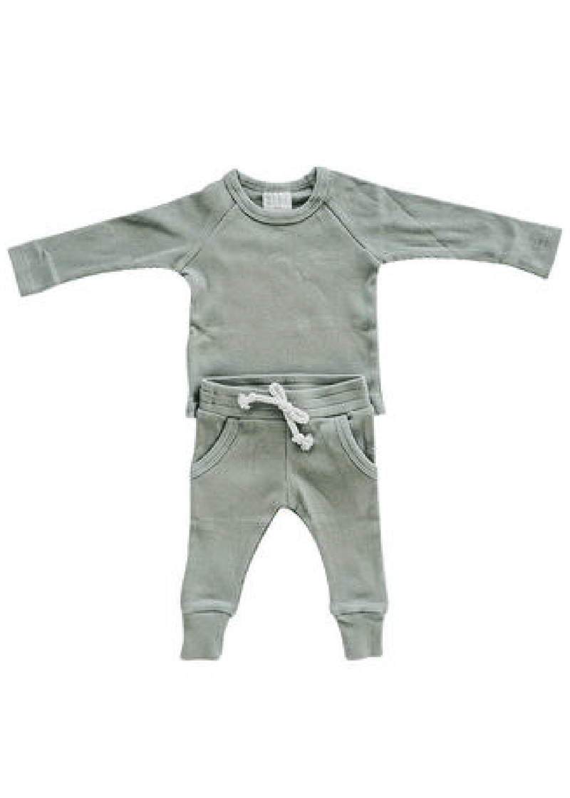Organic Cotton Ribbed Two-Piece Pocket Set - Green