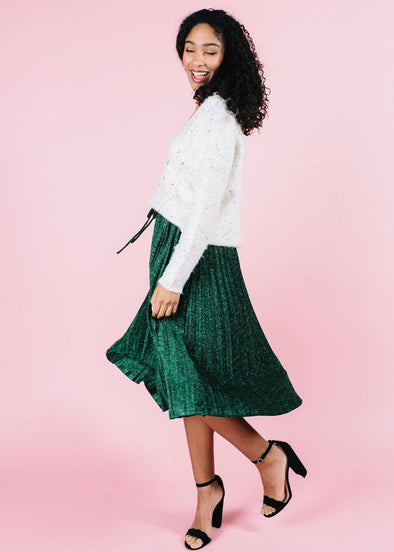Mya Metallic Midi Skirt - Green