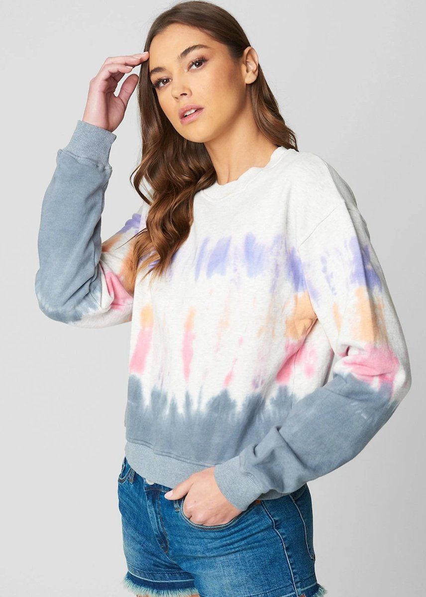 Cropped Tie Dye Crewneck Sweatshirt - Into The Groove