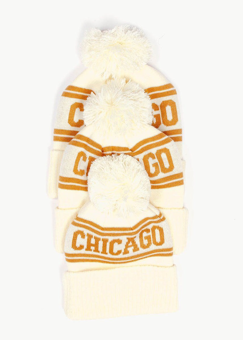 Infant/Toddler Mad Hatter Chicago Beanie - Ivory