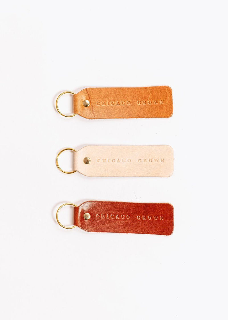 Hand Stamped Leather Keychain - Chicago Grown