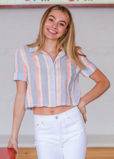 Haight Street Cropped Tie Front Shirt