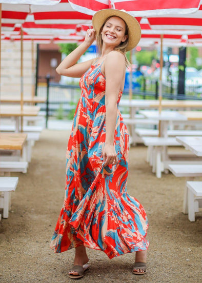 Heat Wave Printed Maxi Slip - Red