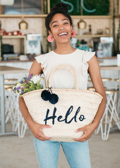 Hello Pom Pom Straw Bag - Navy & Red