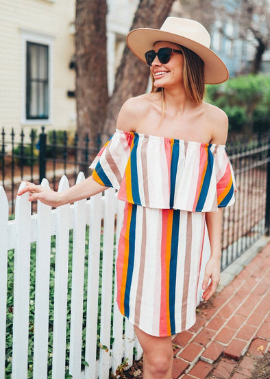 Jolie Dreams Rainbow Off-The-Shoulder Dress