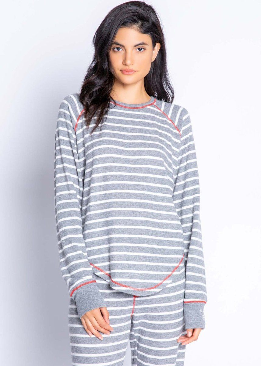 Joyful Spirit Long Sleeve Top - Grey