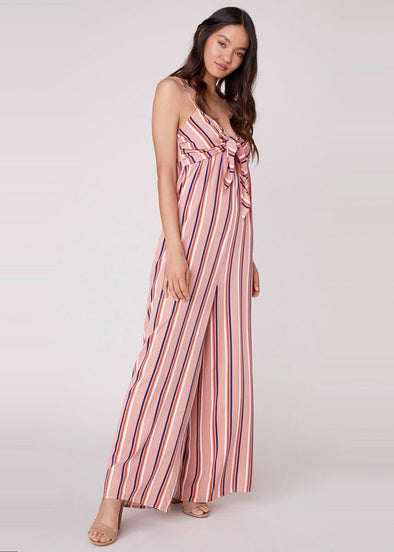 Just My Stripe Tie Front Jumpsuit