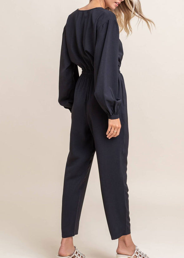 Twill Button Down Black Jumpsuit