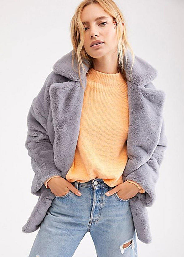 Solid Kate Faux Fur Coat - Cloudy Day