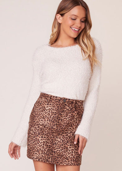 Here Kitty Leopard Faux Suede Skirt