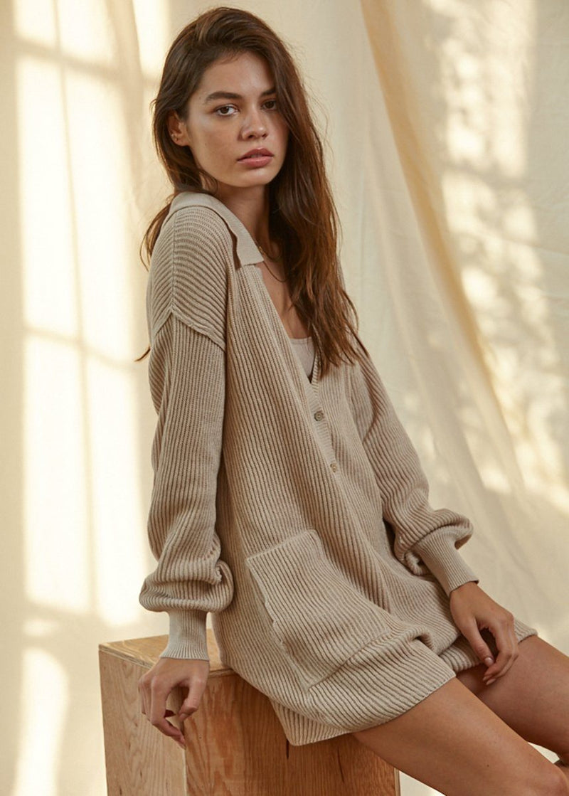 Knit Sweater Romper - Taupe