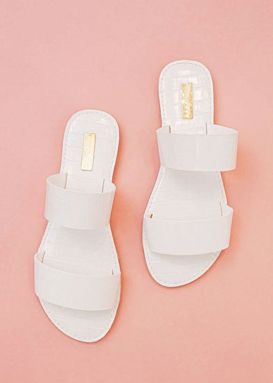 Athena Two Band Croc Slide - White