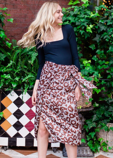 Avery Leopard Wrap Midi Skirt
