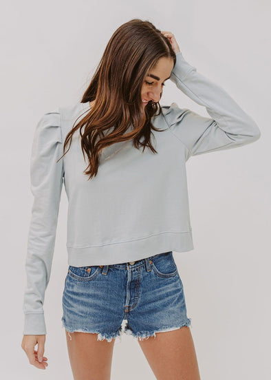 Puff-Sleeve Crop Sweatshirt - Arctic Blue