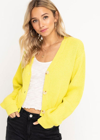 Sweater Buttoned Cardigan - Lime