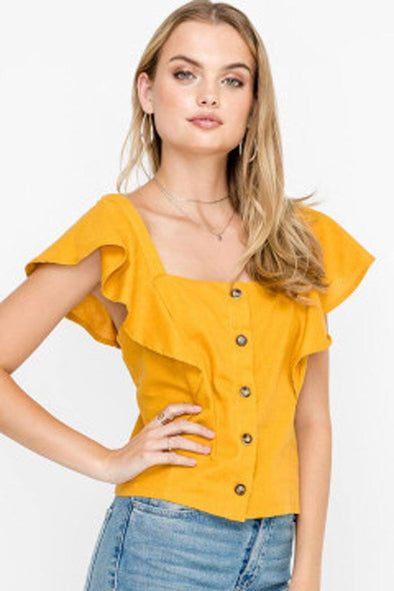 James Buttoned Flutter Sleeve Top - Mustard