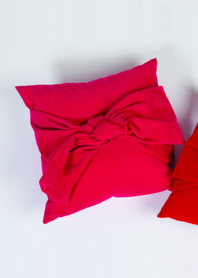 Velvet Bow Pillow - Magenta