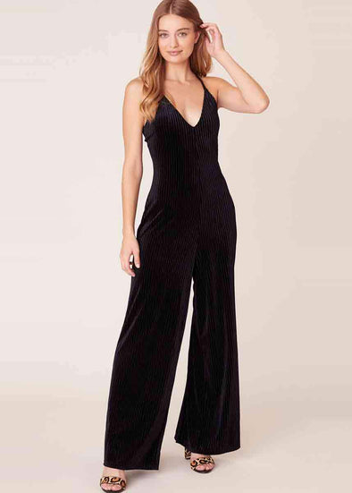 Magic Touch Velvet Jumpsuit - Black