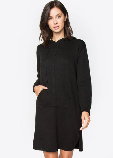 Mareena Oversized Hoodie Dress - Black
