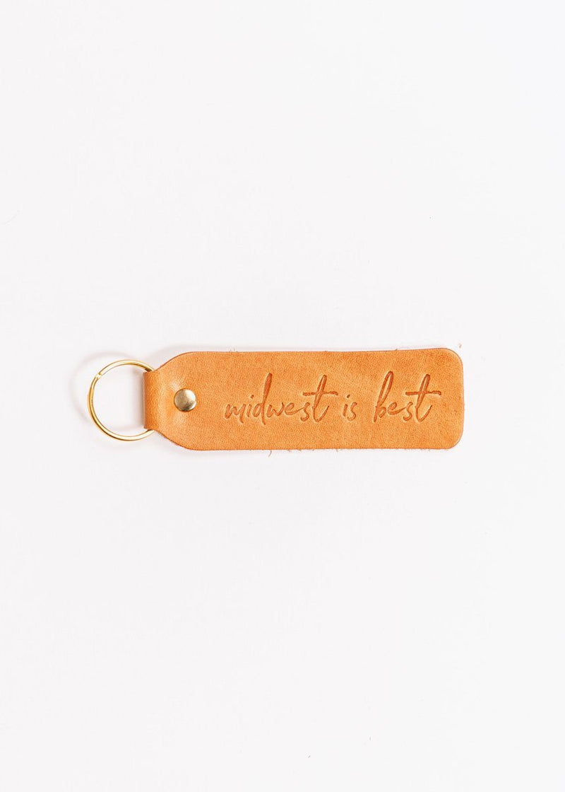 Hand Stamped Leather Keychain - Midwest Is Best