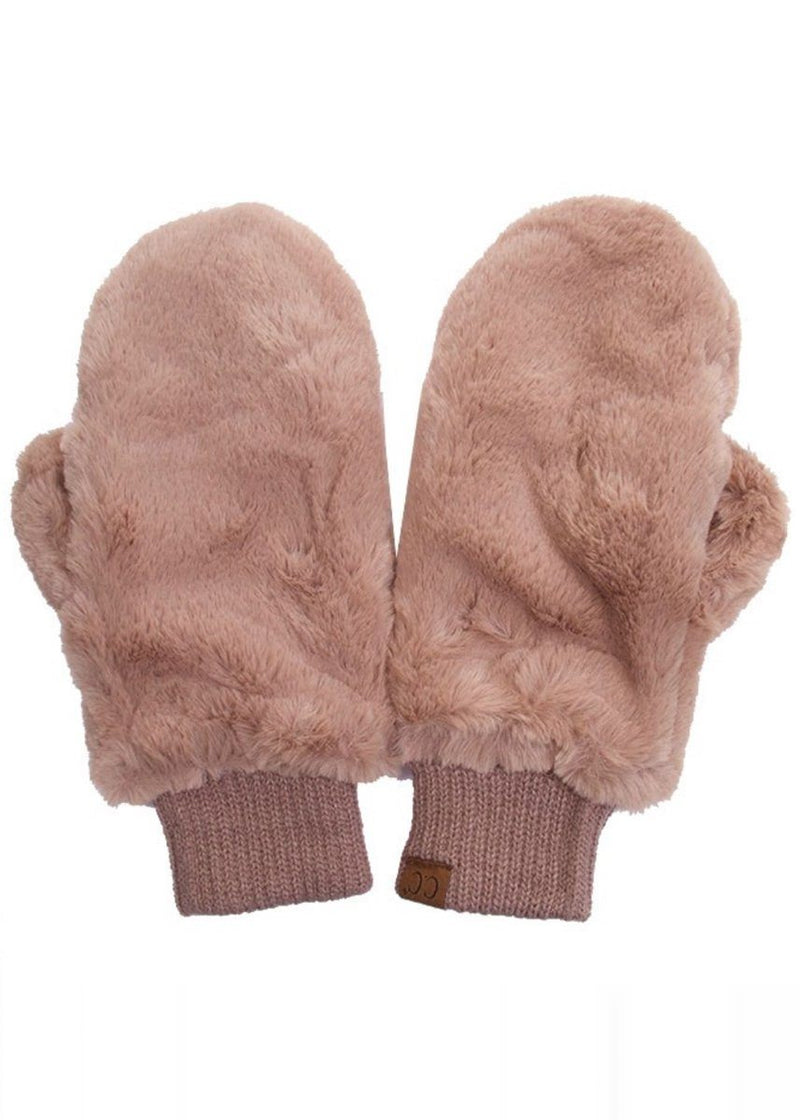 Chilly Night Faux Fur Mitten - Mocha