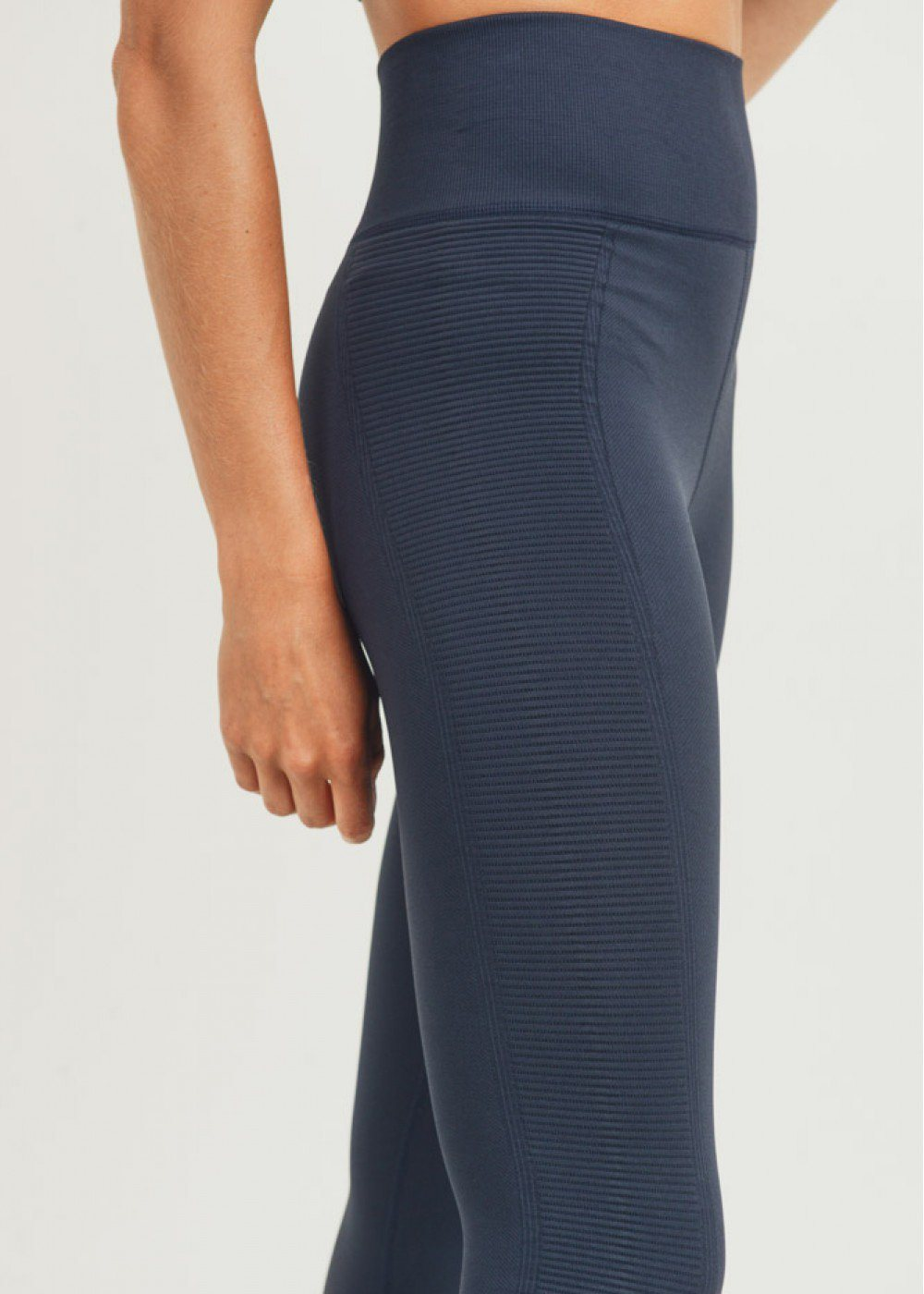 Navy Ribbed Side Panel Seamless Highwaist Leggings