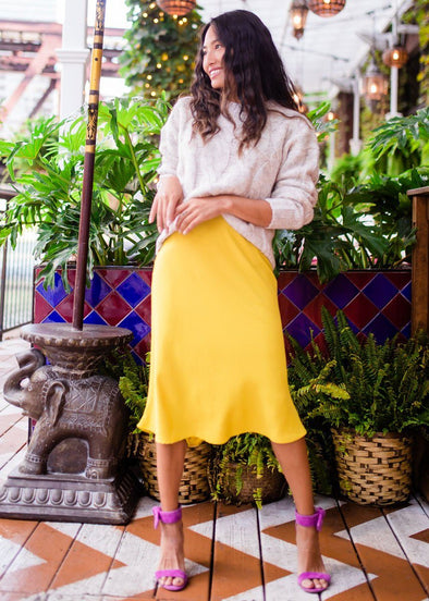 Miss Happy Midi Skirt - Mustard