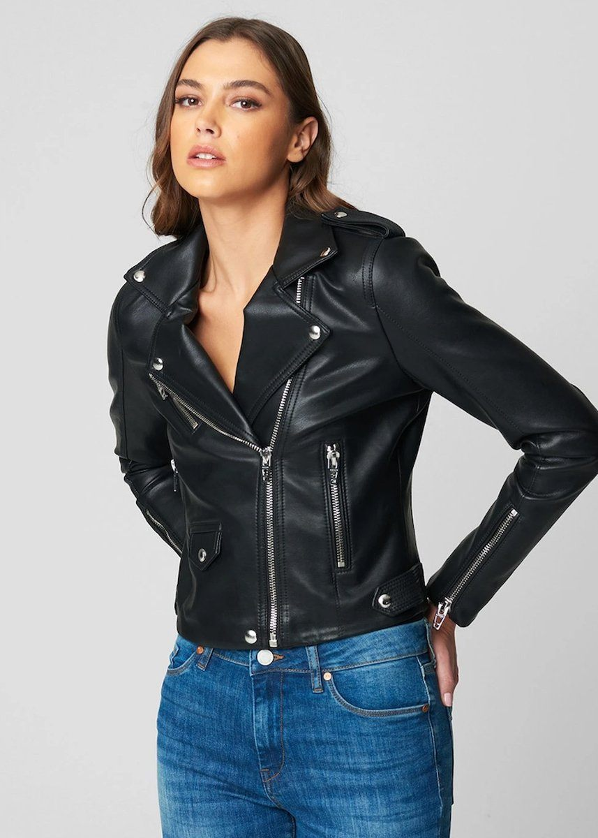 Vegan Leather Semi Fit Moto Jacket - For The Night