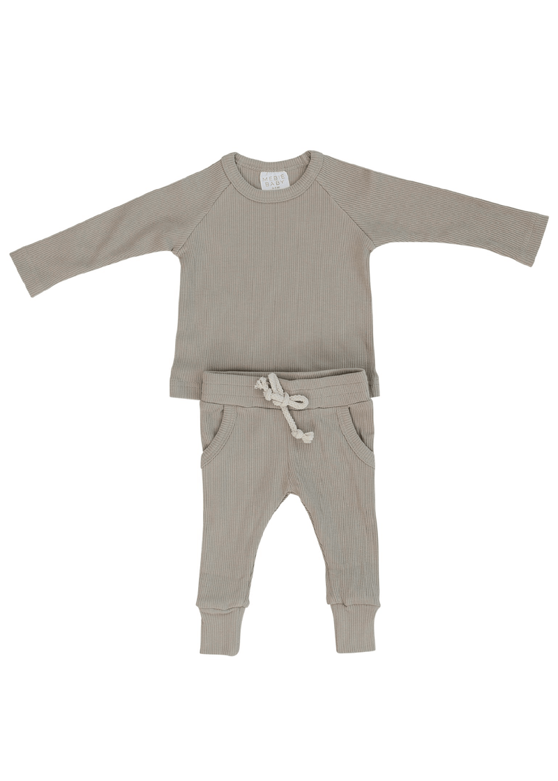 Organic Cotton Ribbed Two-Piece Pocket Set - Oatmeal