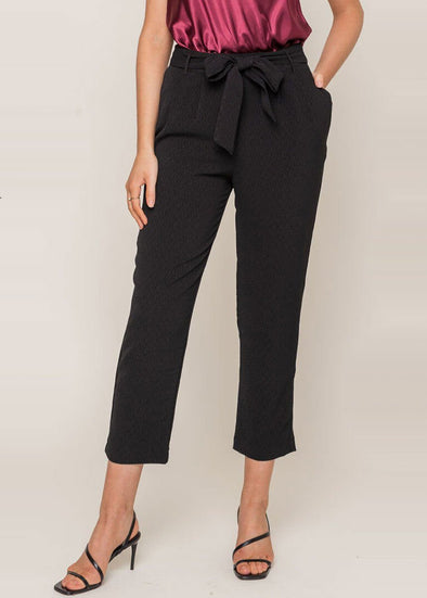 Cropped Tie Trouser - Black