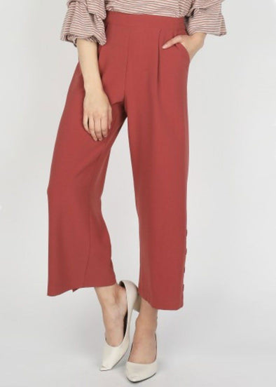 Jenna Wide Leg Pants - Dark Mauve