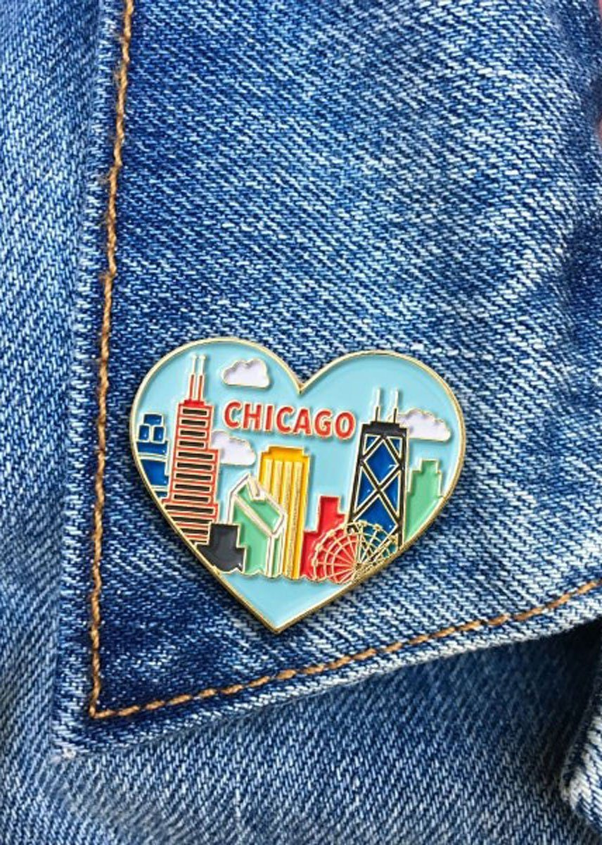 Chicago Skyline Heart Pin