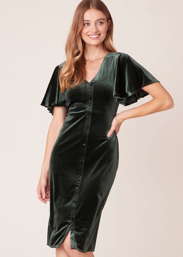 Round Midnight Velvet Midi Dress - Winter Pine