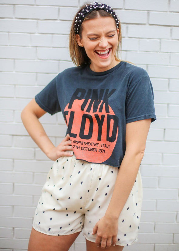 Pink Floyd Retro Crop Tee - Black