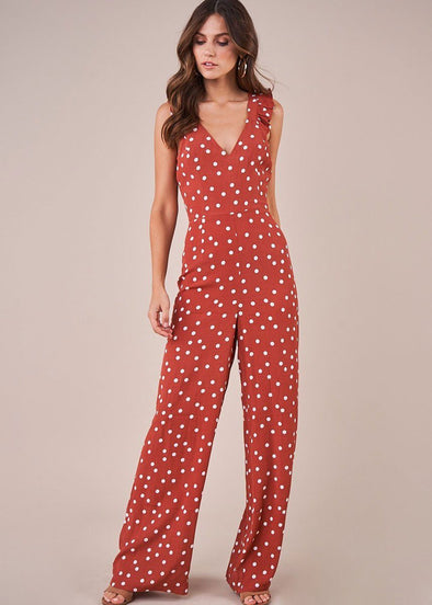 Hot In The City Wide Leg Jumpsuit - Terracotta