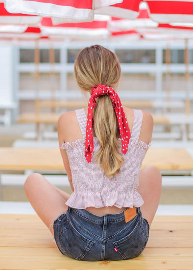 Up And Away Scrunchie Scarf - Rouge