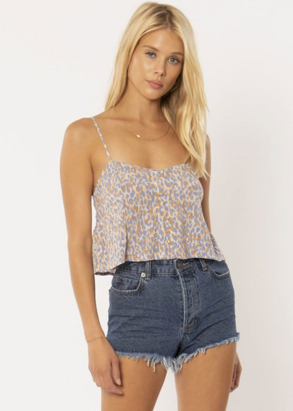 Blissed Out Woven Tank - Pool Blue