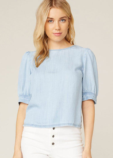 Diamond In The Puff Chambray Top