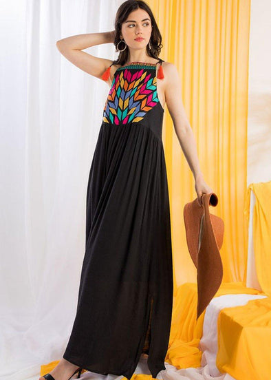 Quigley Embroidered Maxi Dress - Black