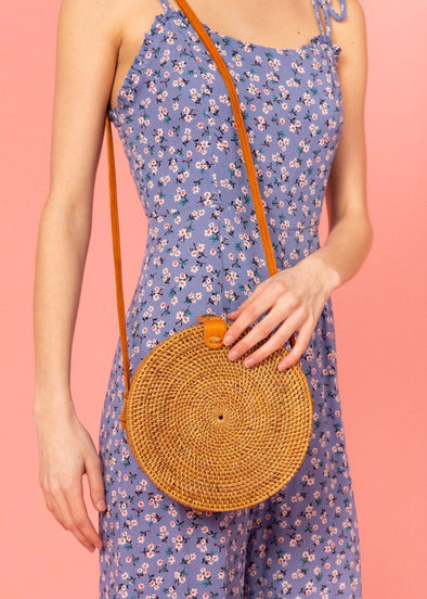 Bagus Rattan Circle Crossbody - Tan