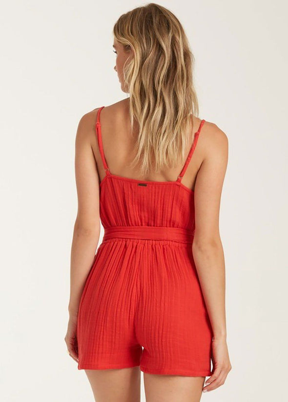 Linger On Romper - Rad Red