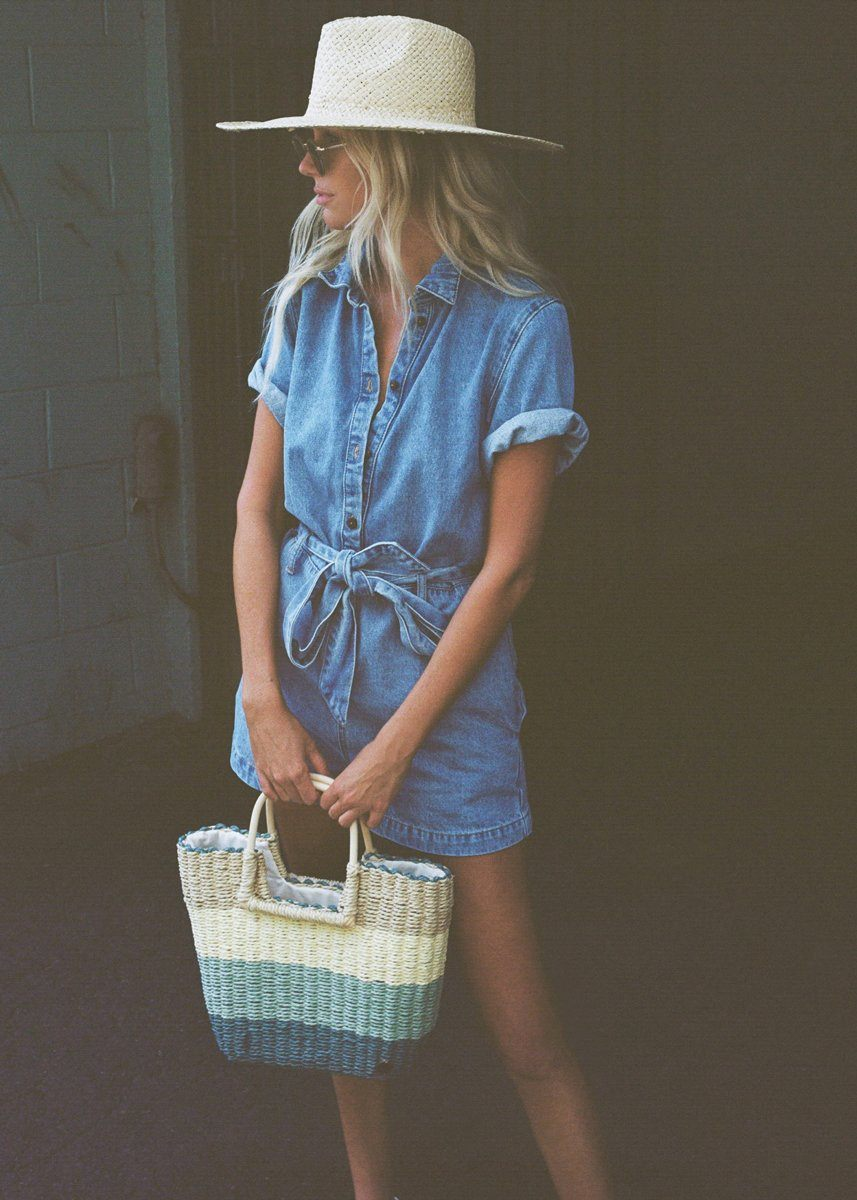 Date Night Denim Utility Romper