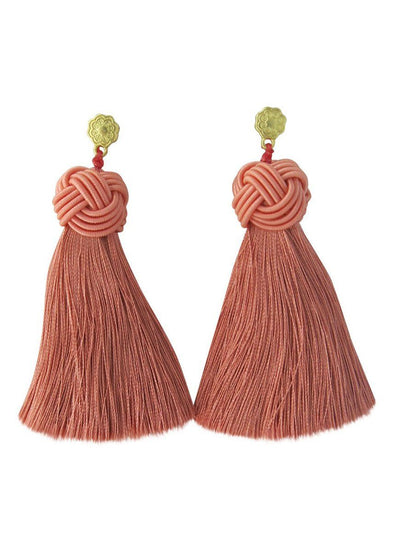 Topknot Tassel Earrings - Copper Rose