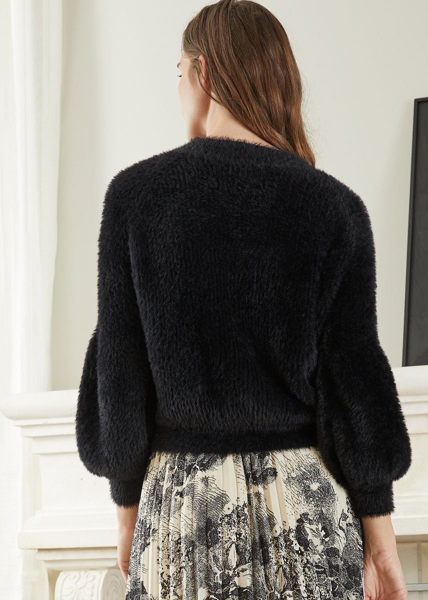 Rose Puffy Sleeve Sweater - Black